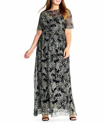 ADRIANNA PAPELL® Plus 18W Black/Gold Embroidered Metallic Gown NWT $259