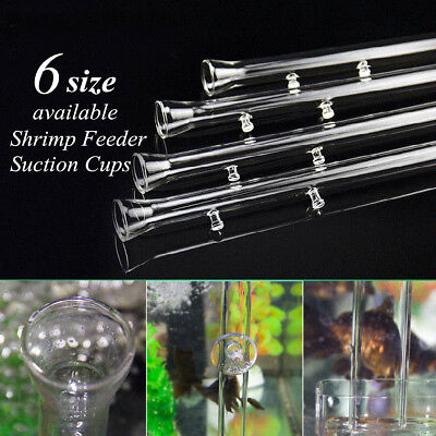 20-45cm Aquarium Fish Tank Shrimp Glass Feeding Tube Food Feeder w/ Suction Cup