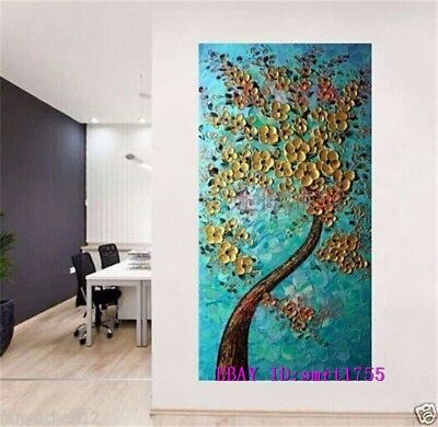 Modern Abstract hand-painted Art Oil Painting Wall Decor canvas 24x48   #64