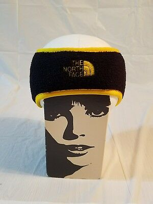 The North Face Thermal Fleece Ear Gear Headband Earband BLACK YELLOW VINTAGE #11