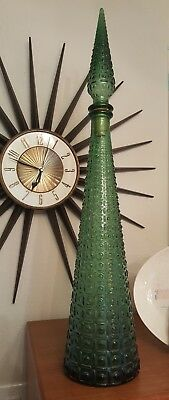 "Vintage Mid Century Empoli Green Italian Glass Decanter ~ Bottle 22"" Tall *EUC*"
