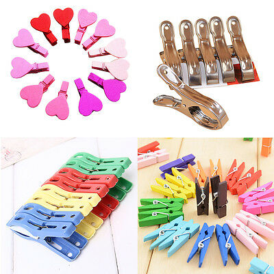 Fashion Colors Clothespin Clips Note Pegs Mixed For Photo Paper Clothes Towel US