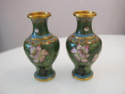 Stunning Pair Of Antique Chinese Cloisonne Vases