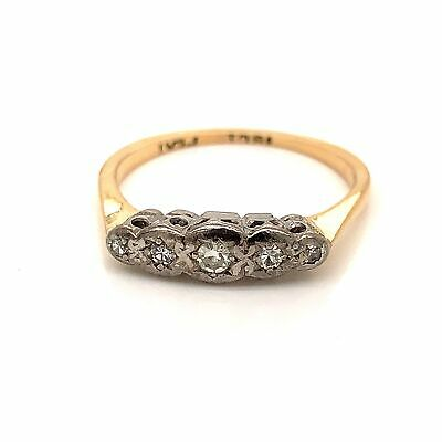 VINTAGE DIAMOND Ring (TDW 0.10ct) Star Set 18k Yellow Gold & Platinum Size L1/2