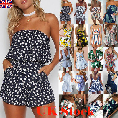 UK Summer Womens Holiday Mini Playsuit Ladies Jumpsuit Beach Shorts Boho Dress