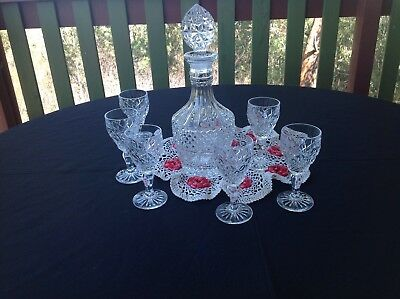 Vintage Clear Glass Decanter & 6 Wine Glasses