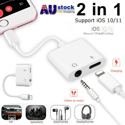 iPhone X 7 8 Plus Lightning to 3.5mm Aux Headphone Audio Adapter Charge Cable AU