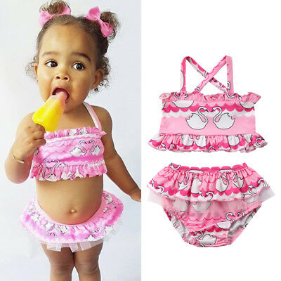 AU 2Pcs Newborn Baby Girl Swan Tankini Swimwear Swimsuit Bikini Set Bathing Suit