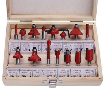 "15pcs 1/4"" Router Bit Professional Shank Tungsten Carbide Router Cutter Set Kit"