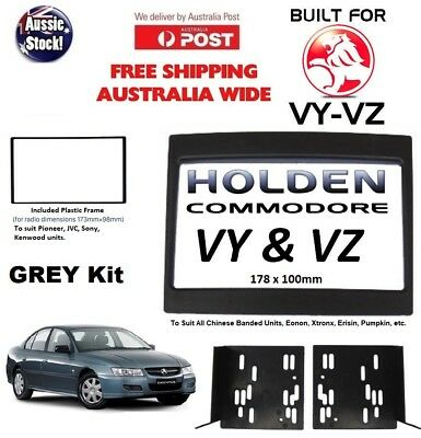 HOLDEN COMMODORE VY-VZ DOUBLE-DIN FACIA KIT adaptor dash fascia panel trim GREY