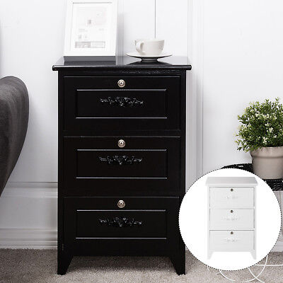 Bedside Table NightStand End Table Wood Cabinet Storage Home W/3 Locking Drawer