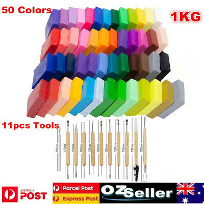 50 Colors Polymer Clay DIY Soft Molding Craft Oven Baking Clay Blocks +11pc Tool