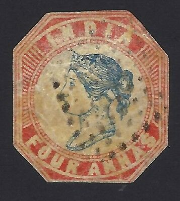 (ny) India 1854 Queen Victoria 4as Frame Die 2, Head Die 3 cut to shape