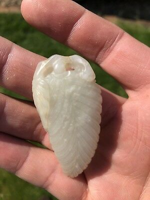 Chinese Jade Leaf Pendant Carving With Figure 20Th Century