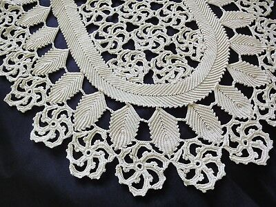 Lovely Vintage Handmade Cotton Crochet Ecru Floral Oval Tablecloth