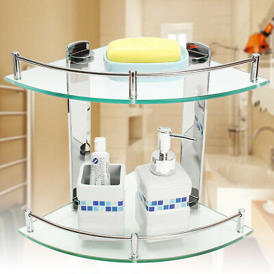 Bathroom Glass Triangular Wall Mount Corner Shelf Rack Storage Organizer Holder