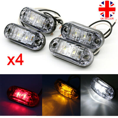 4x LED Front Side Marker Lights Lamp Truck Car Trailers Indicator Yellow Red LU