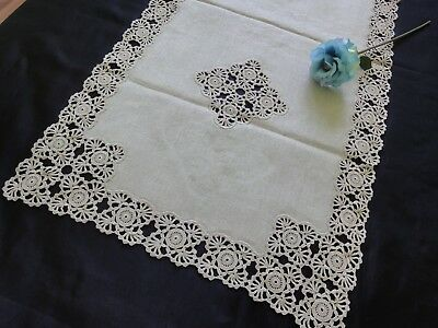 Vintage Handmade Ecru Linen Table Runner with Lovely Cotton Crochet Lace
