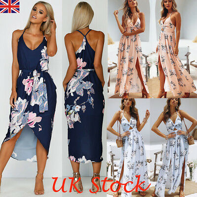 UK Boho Womens Holiday Strappy Floral Long Maxi Ladies Summer Beach Party Dress