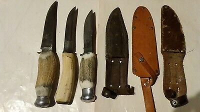 Vintage  Knifes  Deer Horn Handle   (3)