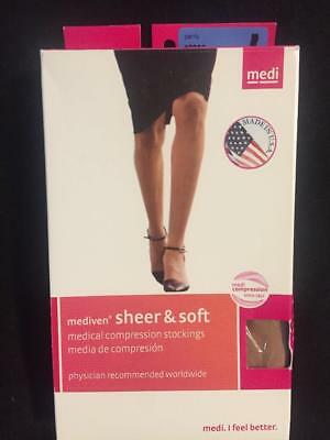 MEDI Compression Stockings-NEW-Panty Closed Toe-Soft & Sheer-Natural-15-20 III