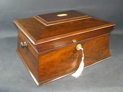 Antique Georgian Rosewood Box Working Lock & Key 1780 Mother Of Pearl Center