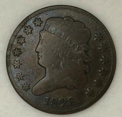 Raw 1828  1/2C in Good 13 stars Early US Copper Half Cent  ma4