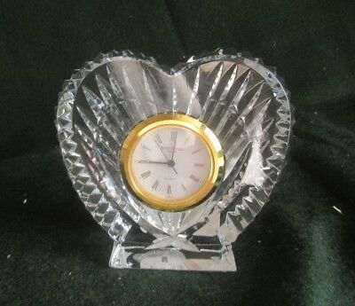 Waterford Crystal Small Gold Rimed Heart Shape Clock with new battery standing