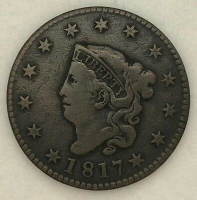 1817  Large Cent in Fine 13 stars US   MA9
