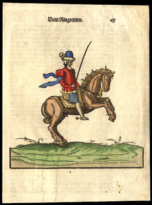 Circa 1499 Incunable Print Hand-Colored The King Riding Equestrian Dressage