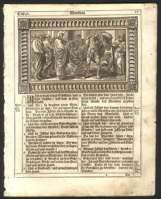 Old Testament Bible Leaf First Kings Chap 16-17 Woodcut Samuel Annoints David