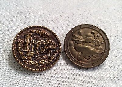 Antique 2 Very Old METAL BUTTONS Beautiful & Vintage Castle & Maiden w/ Lyre