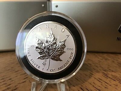 2013 Snake Privy - 1 oz. Canadian Silver Maple Leaf In Capsuled