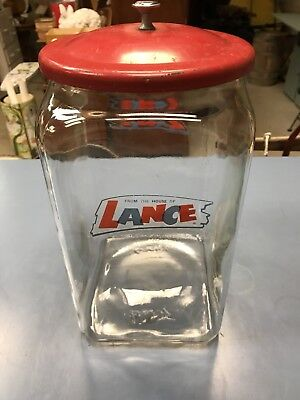 "Rare 13"" Lance Cracker/Cookie/ Candy Store Jar w/ Original Lid! NICE!!"