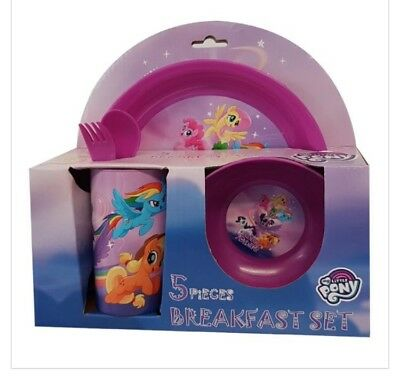My Little Pony 5pc Kids Dinner Set Plate Cup Bowl Spoon Fork Girls Meal Set