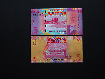 Samoa Banknotes Brilliant 5 Tala  Date 2012   -   Beautiful notes in    MINT UNC