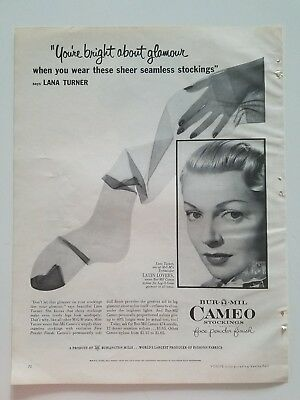 1953 CAMEO women's nylon stockings Hosiery Lana Turner Latin lovers ad
