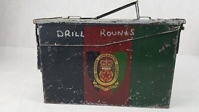British Army Vintage Steel Ammo Box  Drill Rounds Queens Lancashire Regiment