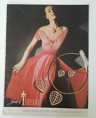 1953 trifari captive Heart Gold necklace earrings brooch pin jewelry ad
