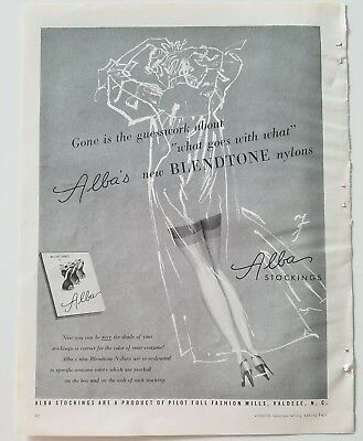 1953 ALBA blendtone women's nylon stockings hosiery vintage ad