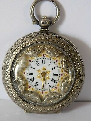 Stunning ANTIQUE  PATTERNED CASE BEZEL & PAINTED DIAL SOLID SILVER POCKET WATCH