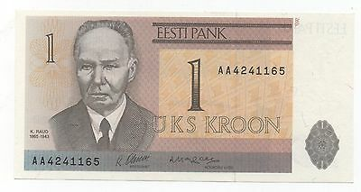 Estonia 1 Kroon 1992 Pick 69 Prefix Aa Unc