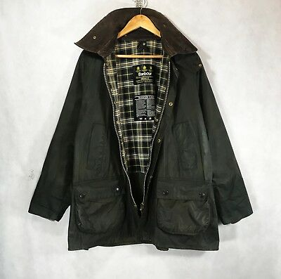 Men's Barbour Bedale Jacket Olive Green Vintage Waxed Jacket Coat C 44 / 112 cm