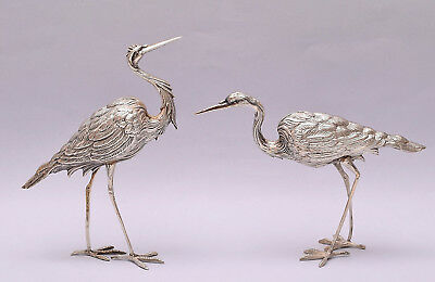 Very Nice Pair Of Solid Silver Herons