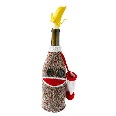 Going Bananas Sock Monkey Wine Bottle Cover, Banana Wine Stopper by Guzzle Buddy