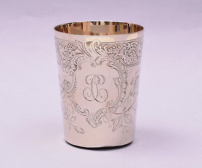 Antique French Sterling Silver Cup Hand Engraved