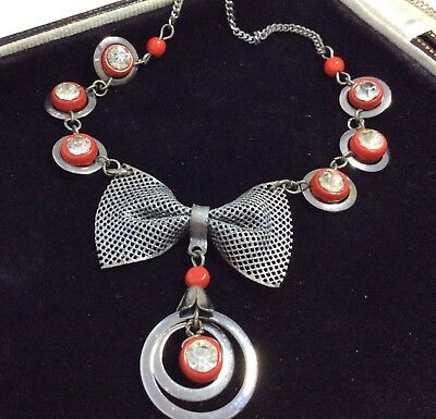 Vintage Art Deco Jewellery Gorgeous Glass And Chrome Mesh Pendant Necklace
