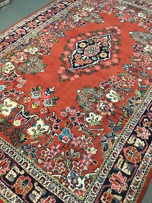 Persia Kerman vintage hand knotted Original Rug  7'X 10'  Woven Red A+