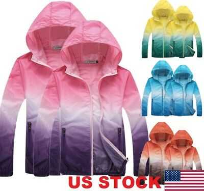 Waterproof Sunscreen Jacket Mens Womens Oversized Lightweight Rain Coat US STOCK