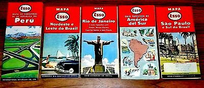 Lot of 5  ESSO Road Maps Different South American- Excellent!